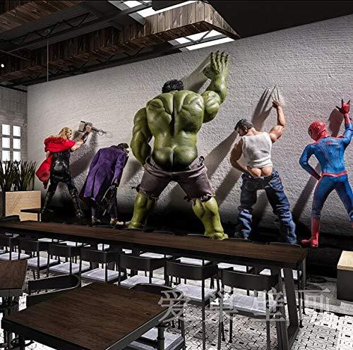 Fototapete Tapete 3D Tapetenwand Marvel Avengers Seamless Wandbild Net Cafe Bar Hintergrundbild Ktv Internet Cafe Hulk Spiderman Hintergrundbild-350cmx245cm