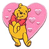 Iron on Patches - Winnie The Pooh 'Heart' Disney - Pink - 6,2x6,1cm - Application Embroided Patch Badges