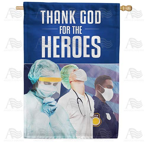 America Forever Flags Double Sided House Flag - Praying For Strength And Wisdom - 28' x 40', Thank You Healthcare Workers, Fight Against Covid-19 Coronavirus Pandemic Flag, Yard Outdoor
