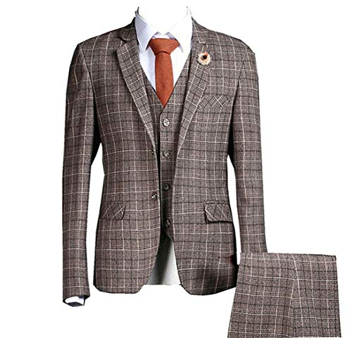 Mens 3 Piece Gangster Pinstriped Check Two Buttons Classic Fit Suits Single Breasted Blazer Flat Front Pant