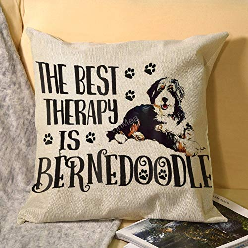 """VinMea Square Throw Pillow Cases, Best Therapy Bernedoodle Decorative Cushion Covers for Sofa Couch Chairs, 22""""x22"""""""