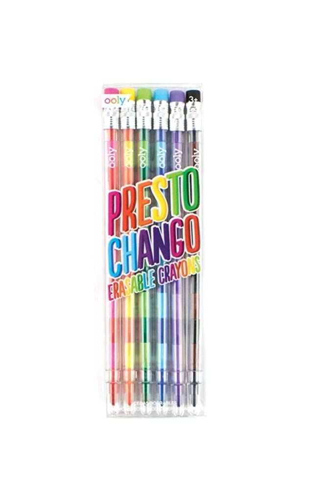 Ooly Presto Chango Pencil Crayon - 6 Piece Set - 12 Interchangeable Color Lead Crayons - Erasable