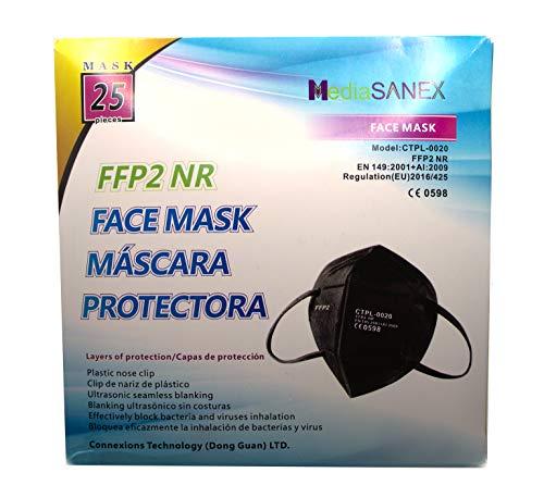 25 Mascarillas FFP2 negras homologadas con certificación CE 2163 y EN149. Ajuste facial para adultos y hasta 12h de protección.