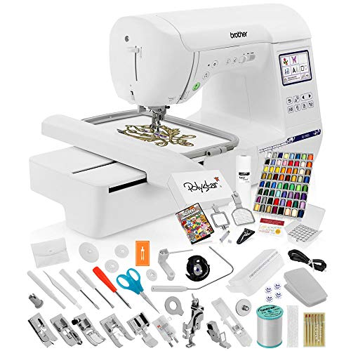 Brother SE1900 Sewing Embroidery Machine + Grand Slam Package Includes 64 Embroidery Threads + Prewound Bobbins + Cap Hoop + Sock Hoop + Stabilizer + 50,000 Designs + Scissors