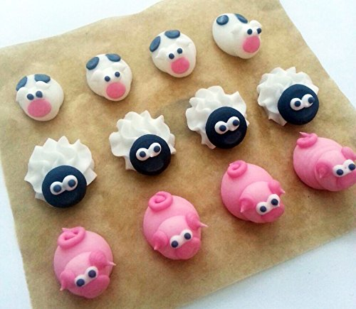 Zucker Kuchendekorationen- 12 kleine Tiere / 12 Edible Sugar Cake Decorations: Mini Farm Animals