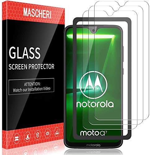 MASCHERI 3 Stück schutzfolie für Motorola Moto G7 Moto G7 Plus Schutzfolie Ausgestattet mit einem Einbaurahmen Blasenfrei Displayschutzfolie