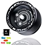 MAGICYOYO Responsive Yoyo T7, Professional Yoyo Metal Aluminum Yo Yo for Kids Beginner with Bag and 5 Replacement Yoyo Strings - Black