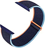 Nylon Sport Loop Band Compatible with Apple Watch Bands 38mm 40mm 42mm 44mm, Women Men Velcro Braided Elastic Wristbands Replacement Band for iWatch Series 6 5 4 3 2 1 SE,(Dark Navy Blue,42mm/44mm)