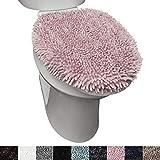 SoHome Spa Step Luxury Plush Chenille Shag Machine Washable Ultra Soft Standard Toilet Lid Cover 18.5'x19.6' Blush