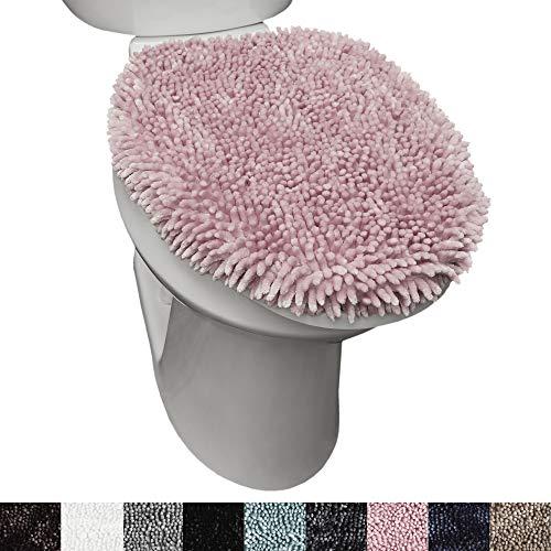 "SoHome Spa Step Luxury Plush Chenille Shag Machine Washable Ultra Soft Standard Toilet Lid Cover 18.5""x19.6"" Blush"