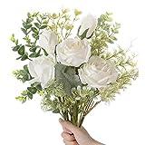 SUNNEGO Künstliche Blumen,Kunstblumen Deko Blumen künstlich Gefälschte seidenblumen Dekoration für Hochzeit Hause Tisch Büro (Weiß) (Weiß)