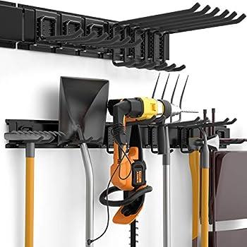 INCLY Heavy Duty Tool Storage Rack Steel Garage Storage System48 Inch Wall Hooks and Hanger Garden Organizer Shovel Holder Wall Mount For Garden Yard