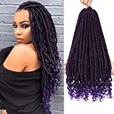Straight Goddess Locs Crochet Hair Purple Faux Locs With Curly Ends Straight Crochet Braiding Hair Extensions for Women Afro Curly Dreadlocks 18Inch Twist Braids Hair(6 Packs)