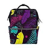 ALINLO - Bolsas de pañales con patrón de hojas coloridas para momia, mochila multifunción de gran capacidad para viajes