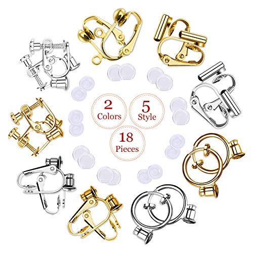 Clip-on Earrings Converter Components with Post for Non-Pierced Ears DIY Comfort Earring Padsfor Women or Girls 2 Colors 5 Style 18 Pieces