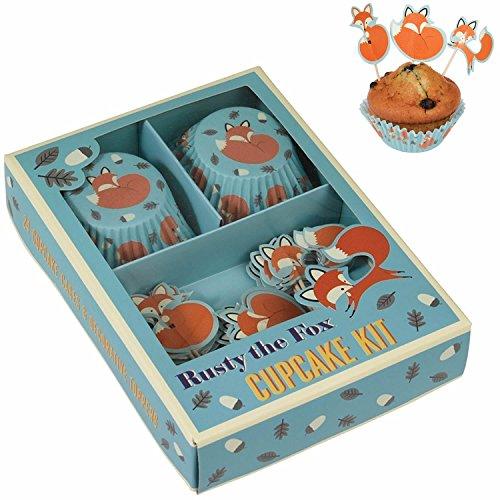 LS Design Vintage Papier Muffin-Set Backförmchen Cupcake Muffinform Fuchs