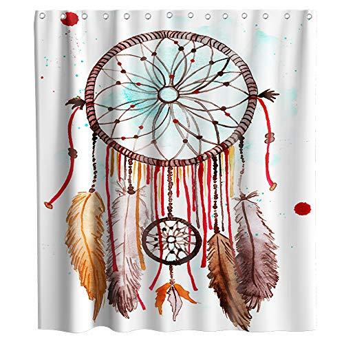 Wasserfarben-Traumfänger-Duschvorhang, Indianer-Motiv, Stoff, Badezimmer-Dekor-Set mit Haken, wasserdicht, waschbar, 183 x 183 cm, Rot & Braun