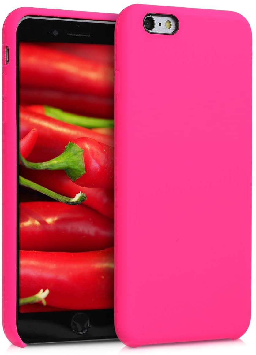 kwmobile TPU Silicone Case Compatible with Apple iPhone 6 Plus / 6S Plus - Case Slim Phone Cover with Soft Finish - Neon Pink