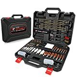 LUXHMOX 59-in-1 Universal Hunting Rifle Pistol Gun Cleaning Kit for All Shotguns - Carrying Case Including Cotton Mop, Bronze Brushes, Brass Jags, Brass Rods, Empty Oil Bottles