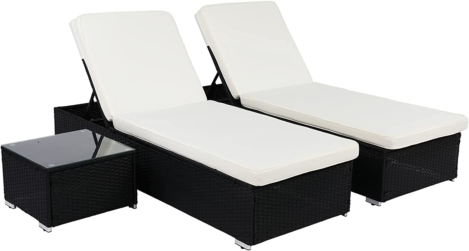 Be super welcome Matladin 3 Pieces Outdoor Wicker Lounge Chaise Set shop Patio