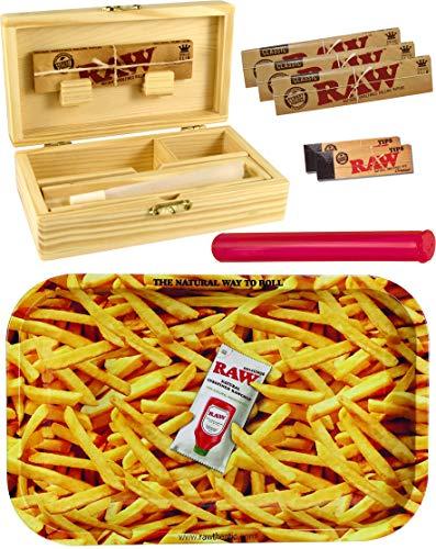 yaoviz® Set RAW French Fries Rolling Tray Small Metall - Holzbox Medium Holz 155 x 85 x 48mm + 3X 32er RAW KS Slim Papers + 2X 50er RAW Filtertips + Buddies Tube Transporthülle 120mm bunt Pommes