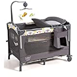 BABY JOY 4 in 1 Pack and Play, Baby Bedside Sleeper Playard with Bassinet, Changing Station and Activity Center, Foldable Baby Playard w/Music Box, Wheels & Brakes, Oxford Bag (Grey)