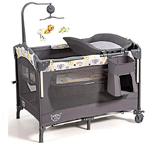 BABY JOY 4 in 1 Baby Bedside Sleeper, Pack and Play with Bassinet, Changing Station and Activity Center, Foldable Baby Playard w/Music Box, Wheels & Brakes, Oxford Bag (Grey)