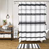 HAOCOO Tassel Boho Shower Curtain Black & White Fabric Shower Curtains Chic Tribal Style Shower Curtain Sets with Hooks Waterproof Bathroom Accessories Decorative(72 x 72 inch)