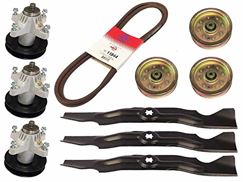 Raisman MTD 50' Deck Mower Rebuild Kit Compatible with Cub Cadet RZT50 Includes 742-04053A Heavy Duty Blades, 918-04126 Spindle Assemblies, 756-04129 Heavy Duty Idler Pulleys, and 754-04044 Deck Belt