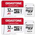 Gigastone 32GB 2-Pack Micro SD Card, Camera Plus, Nintendo-Switch Compatible, High Speed 90MB/s, Full HD Video Recording, Micro SDHC UHS-I A1 U1 Class 10
