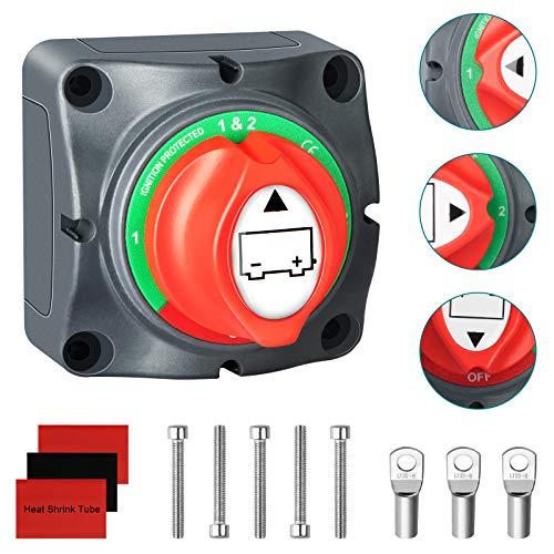 Interruptores de Batería, 4 Posiciones Desconectador del Aislador de Bateria 1-2-Ambos-Off 12V 24V 48V Corta Corriente Bateria Interruptor con Terminal Bateria Tornillo para Moto Coche Barcos Camper