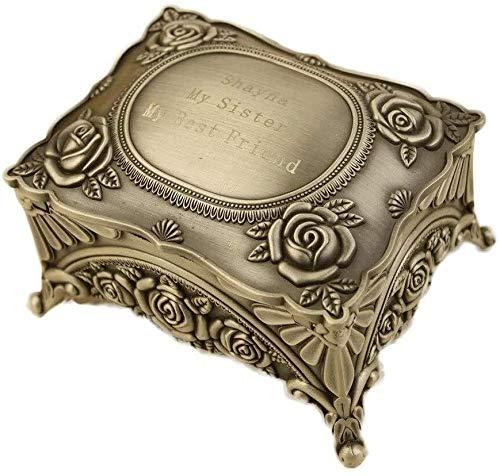 MWXFYWW Joyero Caja de Cofre Joyero Vintage Cajas de joyería de Metal de Estilo Europeo con patrón Tallado Caja de Almacenamiento para Collar Pendiente Pulsera
