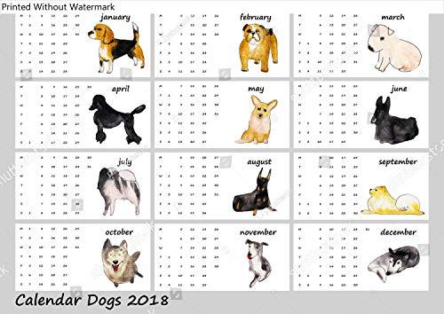 KwikMedia Poster of Dogs Calendar 2018. Watercolor Illustration Variation Number 3
