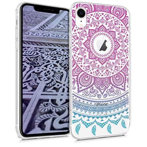 Preisvergleich Produktbild kwmobile Hülle kompatibel mit Apple iPhone XR - Handyhülle - Handy Case Indische Sonne Blau Pink Transparent