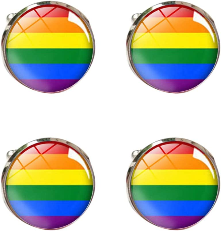 Amosfun Rainbow Suit Cufflinks Buttons Gay Pride Month Decorations Sleeve Cufflinks Gift for Boyfriends Gay Wedding Gift 4Pcs