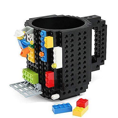 Twshiny Creativo Fai da Te Ecologico Blocchi di plastica della Tazza di caffè della Tazza del Mattone (Black)