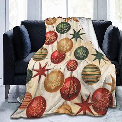 UKFaaa Fleece-Überwurf, Winter-Grandeur, Weihnachtskugeln, Sterne, ultraweich, Samt, Microfaser, Schwarz, 60