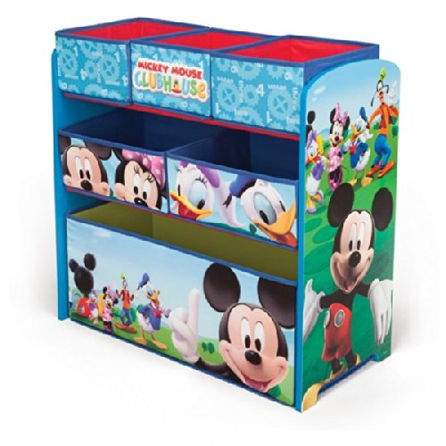 Delta Children\'s Products Disney Mickey Mouse Multi Toy Organizer für Spielzeug aus Holz mit Textilschubladen Aufbewahrungsbox mit Schubladen