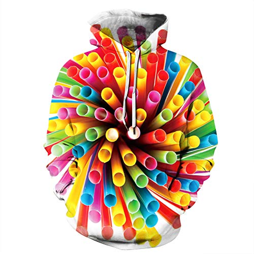 LUOYLYM Cappotto A Maniche Lunghe Top 3D Color Inchiostro Arte Stampa Digitale Coppie Maglione con Cappuccio Uomo E Donna Divisa da Baseball Sportiva Qyxh037 XL