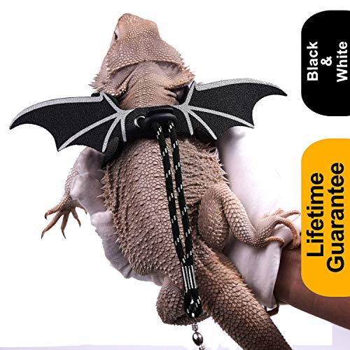 WATFOON Adjustable Lizard Leash Bearded Dragon Harness Soft Leather Cool Wings Training Leashes for Reptiles Leopard Gecko Anole Hamster Rats Rabbit Bird Small Pet Animals (L, Black White)
