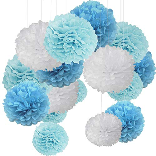15er Set Pompoms Deko Bunt Seidenpapier Pompons für Hochzeit, Geburtstag, Party Blau Flach Blau Weiß
