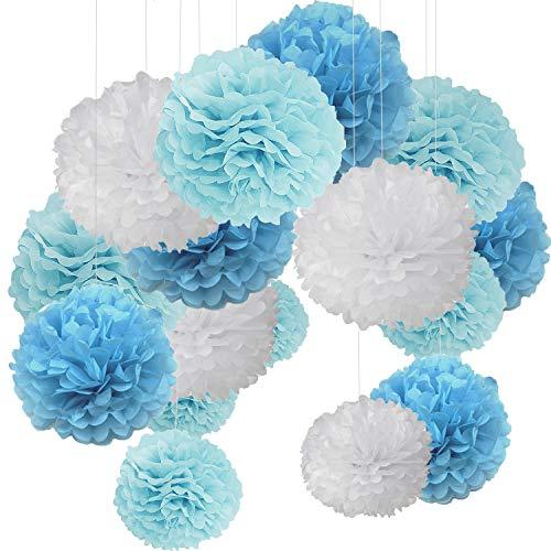 15 pcs Pom pom Decorations Tissue Pom Poms Paper Flower Ball for Wedding Festival Party for a Photo Wall Blue White (30.5 cm / 25 cm / 20 cm)