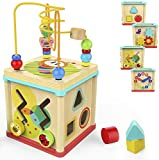 Milly & Ted 5 in 1 Wooden Activity Cube  Classic Shape Sorter Baby or Toddler Toy  Suitable for 1 Year Olds +
