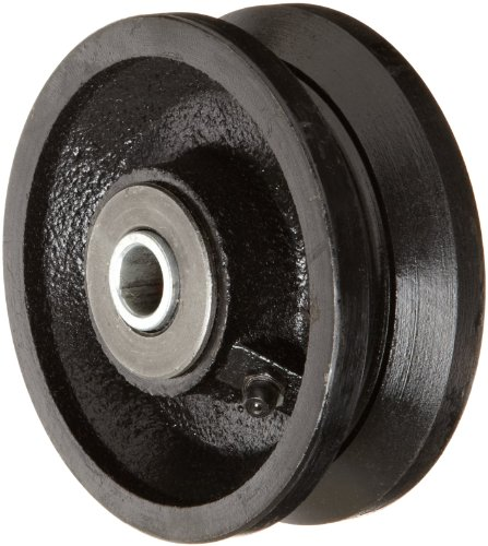 "RWM Casters VIR-0415-08 4"" Diameter X 1-1/2"" Width Cast Iron V-Groove Wheel with Straight Roller Bearing, 700 lbs Capacity"