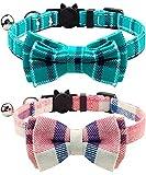 Joytale Katzenhalsband mit Sicherheitsverschluss und Glöckchen, Katzenhalsbänder mit Schleife Krawatte für Mädchen und Junge Kitten,Rosa + Türkis