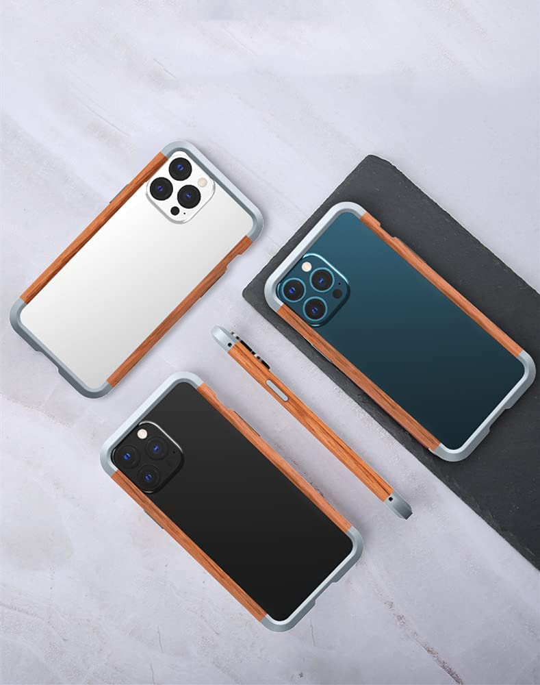 Aluminum Bumper Case for iPhone 13 Mini, Metal+Real Wood Frame Armor with Corner Corver Bumpers Case for iPhone 13mini 5.4 inch for Women and Men (iPhone 13 Mini)