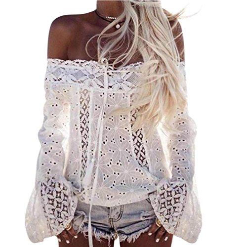 Tefamore Femmes De Manche à l'épaule Lace Loose Blouse Tops T-Shirt (L, Blanc)