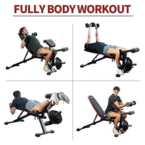 Adjustable Weight Bench Multipurpose Incline Decline Heavy Duty Exercise Bench with Leg Extension and Leg Curl for Strength Training Workout Home Gym