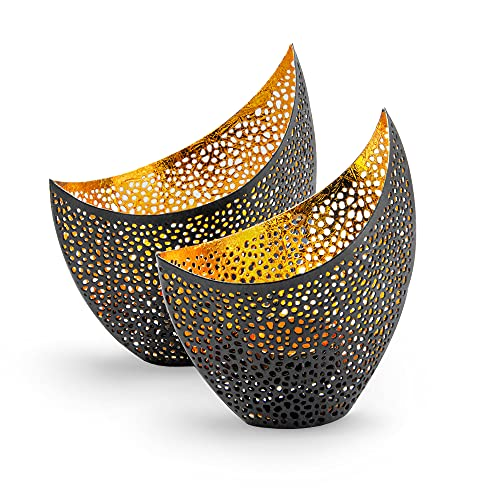 Gadgy Portavelas Decoracion | Juego De 2 Candelabros Decorativos |Decoracion Marroqui | Portavelas Metal |Centro de Mesa Decorativo Salon | Decoracion Hogar | Porta Velas Decorativas