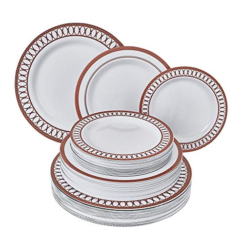 DISPOSABLE DINNERWARE SET   Heavy Duty Plastic Dishes for Christmas Holiday   Includes: 80 Dinner Plates, 80 Salad Plates and 80 Dessert Plates   Renaissance Collection – Red
